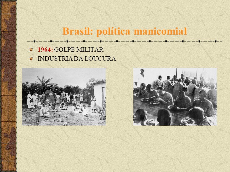 1964: GOLPE MILITAR INDUSTRIA DA LOUCURA Brasil: política manicomial