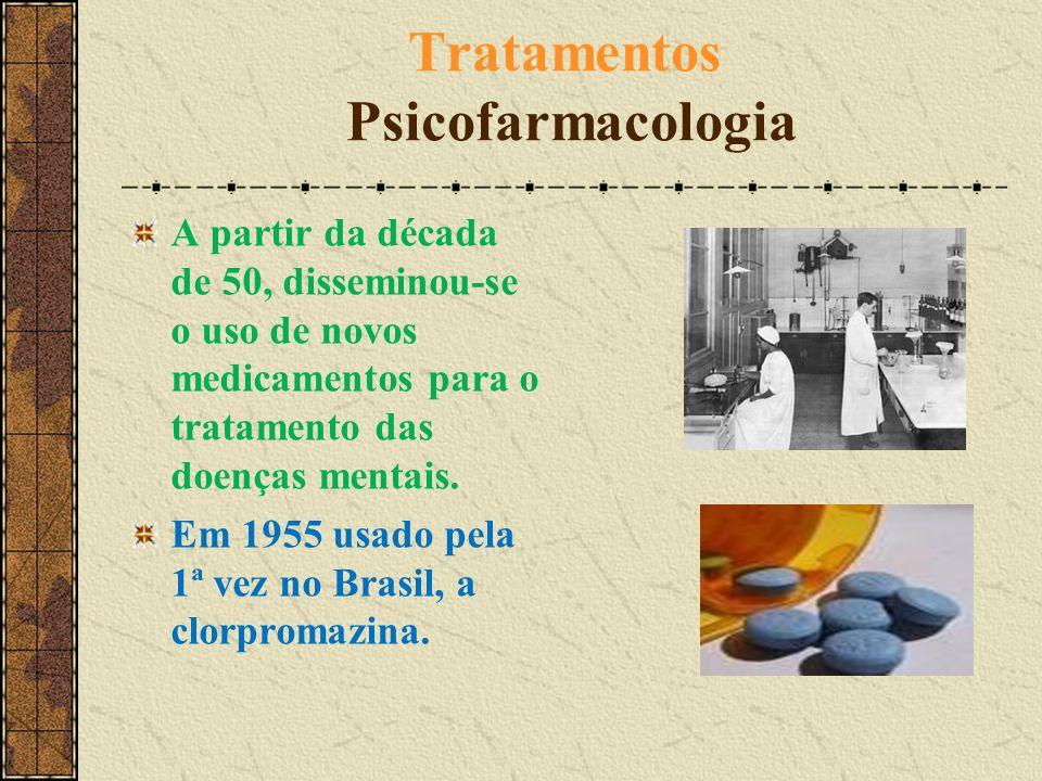 Tratamentos Psicofarmacologia A partir da década de 50, disseminou-se o uso de novos medicamentos para o tratamento das doenças mentais. Em 1955 usado