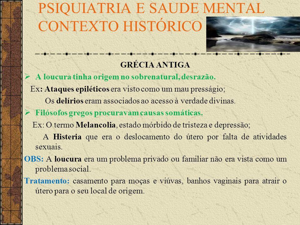 PSIQUIATRIA E SAUDE MENTAL CONTEXTO HISTÓRICO.