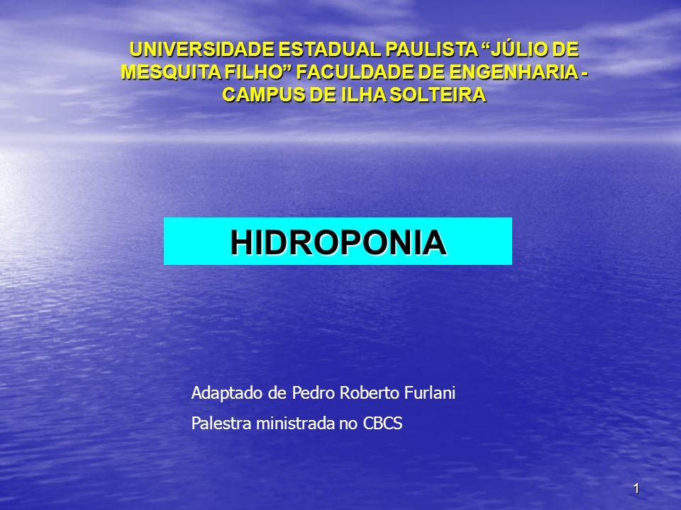 1 UNIVERSIDADE ESTADUAL PAULISTA JÚLIO DE MESQUITA FILHO FACULDADE DE ENGENHARIA - CAMPUS DE ILHA SOLTEIRA HIDROPONIA Adaptado de Pedro Roberto Furlan