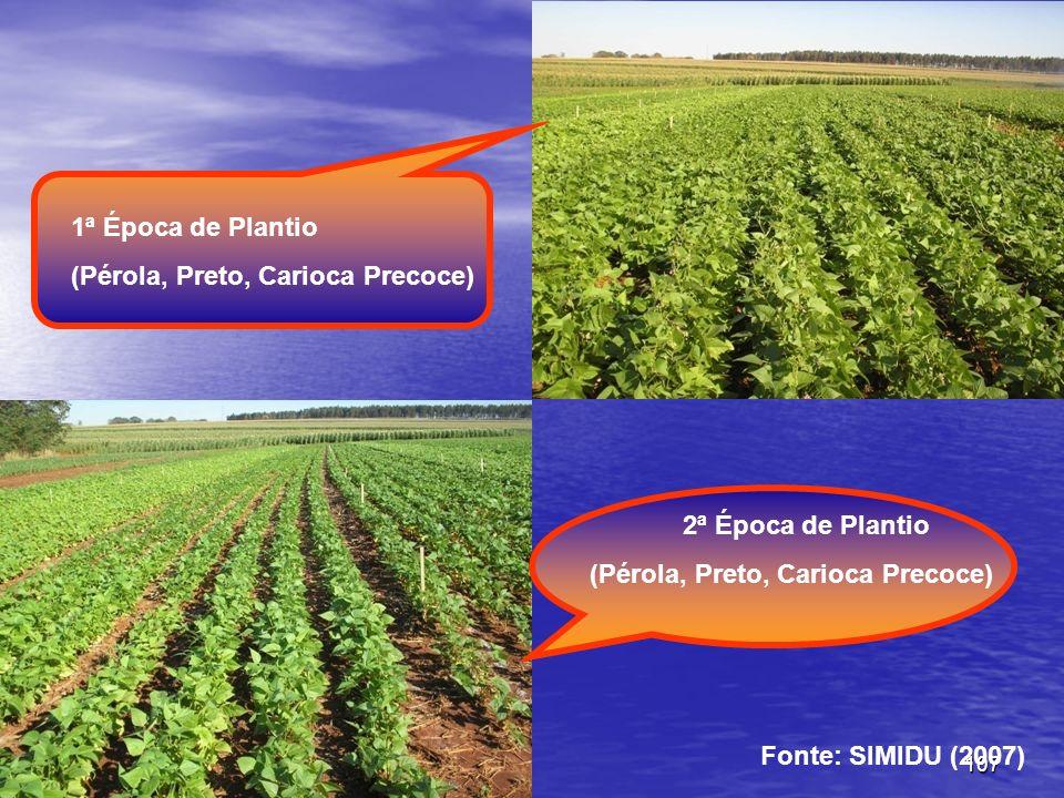 107 2ª Época de Plantio (Pérola, Preto, Carioca Precoce) 1ª Época de Plantio (Pérola, Preto, Carioca Precoce) Fonte: SIMIDU (2007)