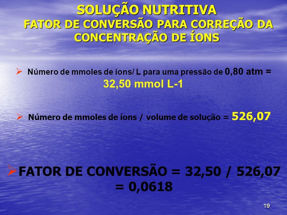 19 SOLUÇÃO NUTRITIVA FATOR DE CONVERSÃO PARA CORREÇÃO DA CONCENTRAÇÃO DE ÍONS Número de mmoles de íons/ L para uma pressão de 0,80 atm = 32,50 mmol L-