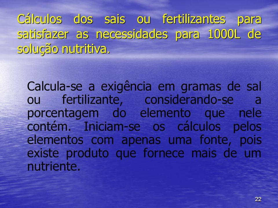 22 Cálculos dos sais ou fertilizantes para satisfazer as necessidades para 1000L de solução nutritiva. Calcula-se a exigência em gramas de sal ou fert