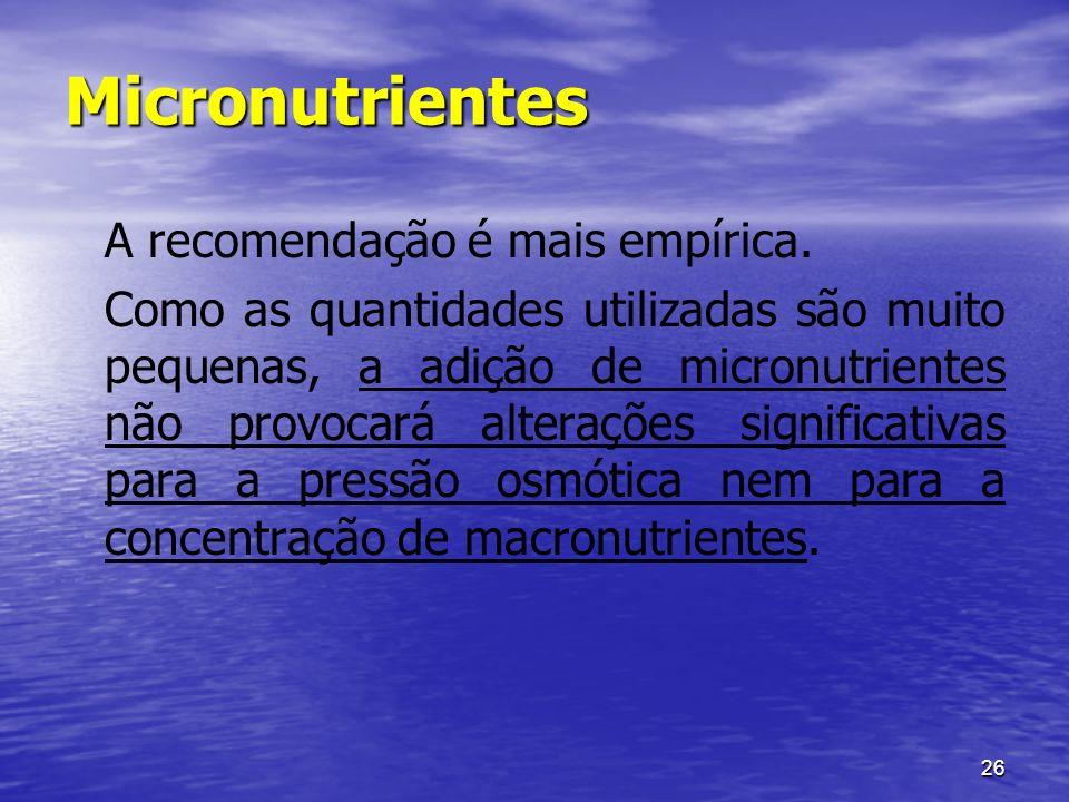 26 Micronutrientes A recomendação é mais empírica. Como as quantidades utilizadas são muito pequenas, a adição de micronutrientes não provocará altera