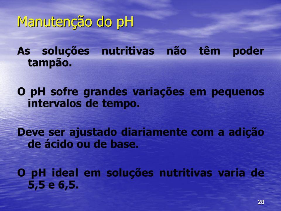 28 Manutenção do pH As soluções nutritivas não têm poder tampão. O pH sofre grandes variações em pequenos intervalos de tempo. Deve ser ajustado diari