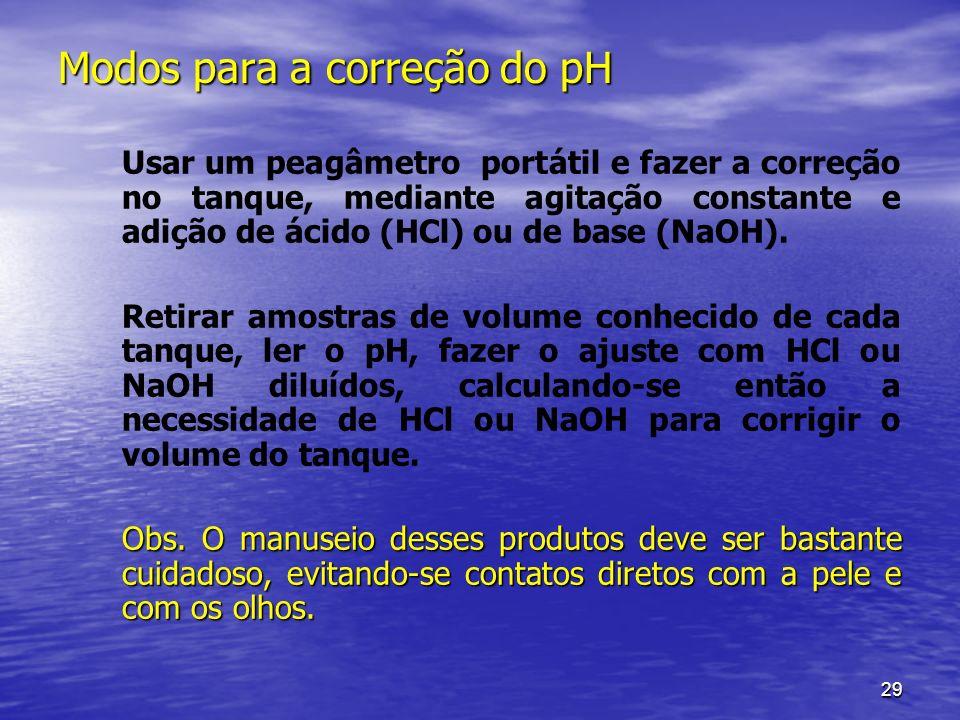29 Modos para a correção do pH Usar um peagâmetro portátil e fazer a correção no tanque, mediante agitação constante e adição de ácido (HCl) ou de bas