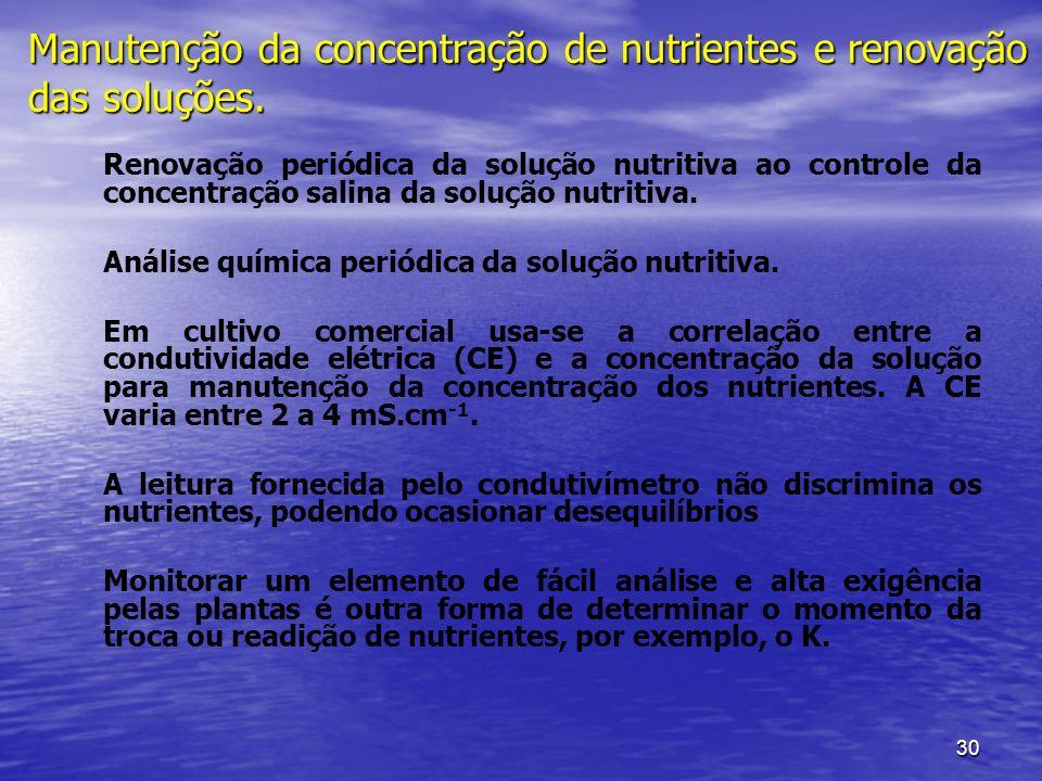 30 Manutenção da concentração de nutrientes e renovação das soluções. Renovação periódica da solução nutritiva ao controle da concentração salina da s