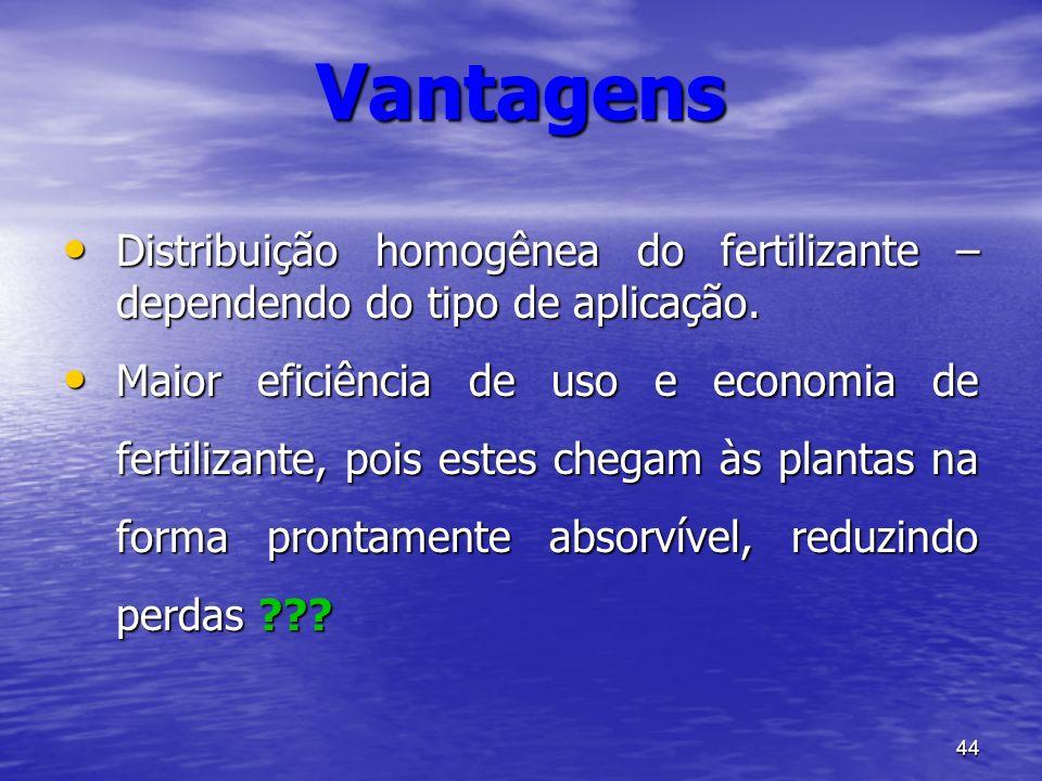 44 Distribuição homogênea do fertilizante – dependendo do tipo de aplicação. Distribuição homogênea do fertilizante – dependendo do tipo de aplicação.