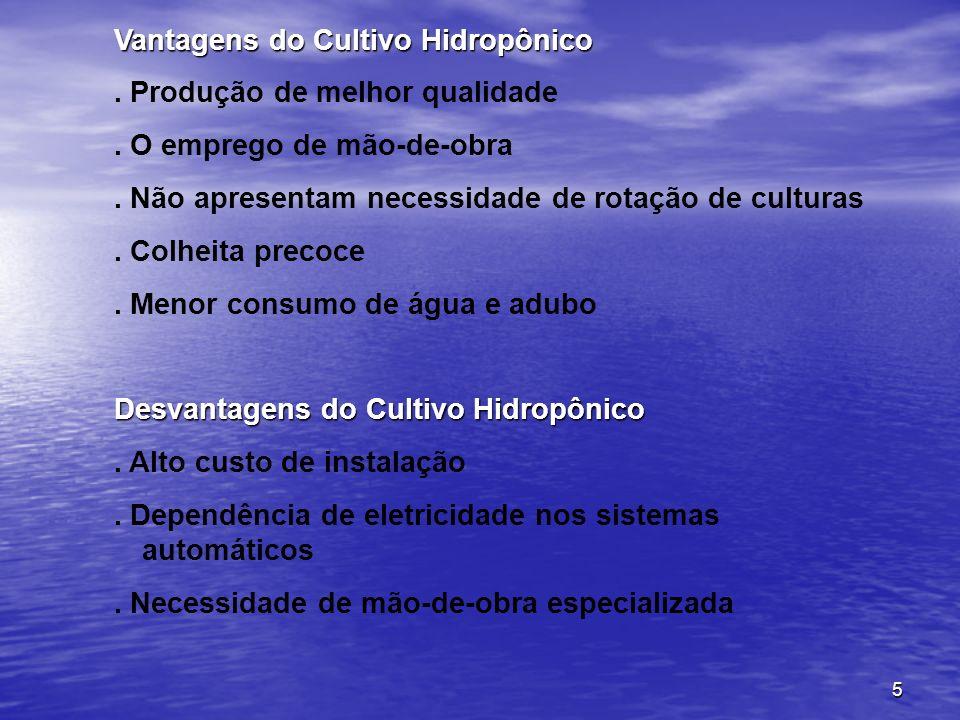 6 Tabela 1 - Produções de algumas hortaliças cultivadas em sistema hidropônico Fonte: adaptado Teixeira, N.
