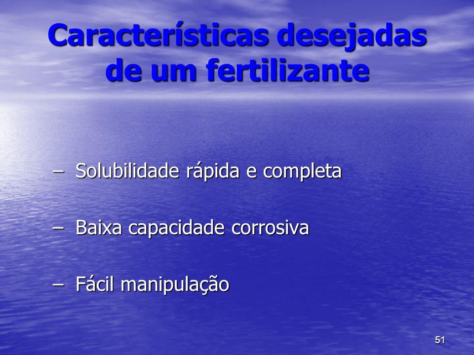 51 Características desejadas de um fertilizante –Solubilidade rápida e completa –Baixa capacidade corrosiva –Fácil manipulação