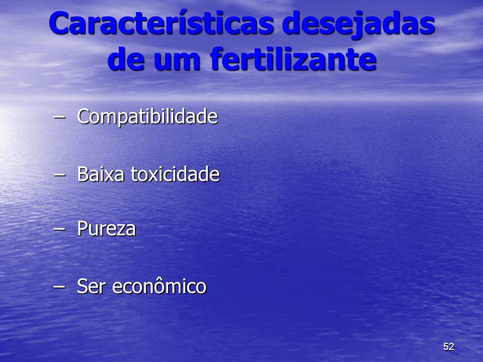 52 –Compatibilidade –Baixa toxicidade –Pureza –Ser econômico Características desejadas de um fertilizante