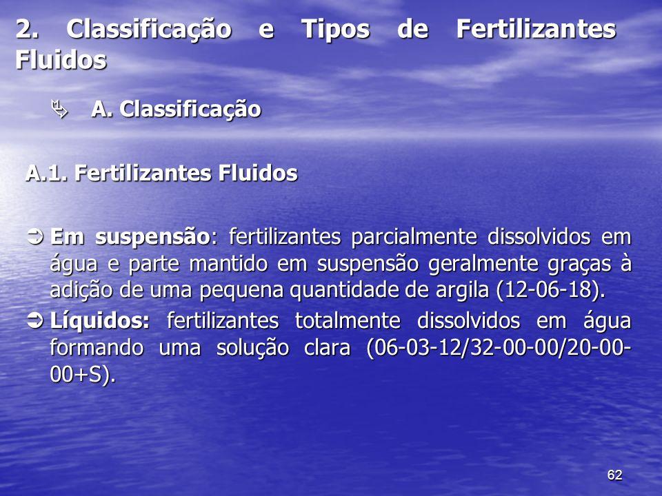 62 2. Classificação e Tipos de Fertilizantes Fluidos A. Classificação A. Classificação A.1. Fertilizantes Fluidos Em suspensão: fertilizantes parcialm