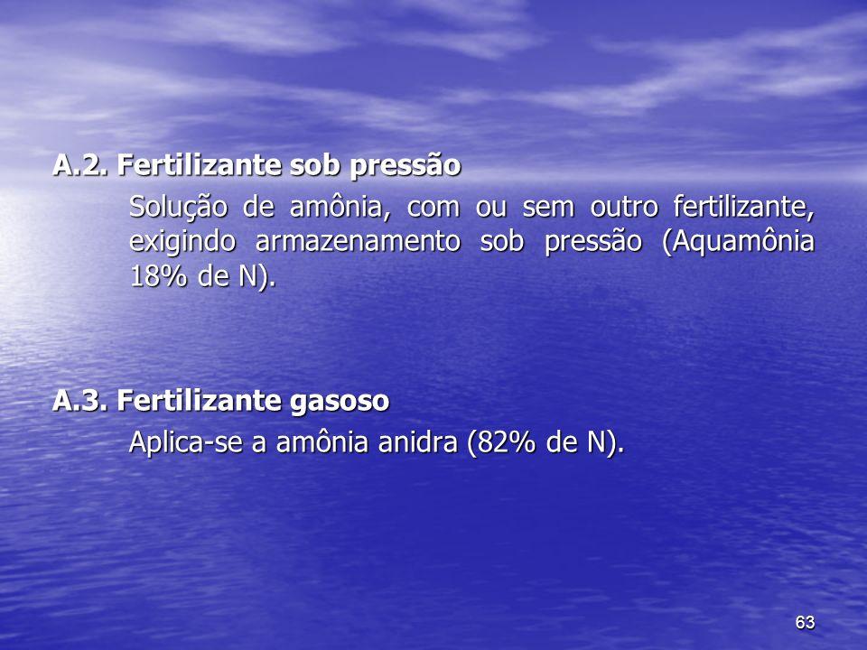 63 A.2. Fertilizante sob pressão Solução de amônia, com ou sem outro fertilizante, exigindo armazenamento sob pressão (Aquamônia 18% de N). A.3. Ferti