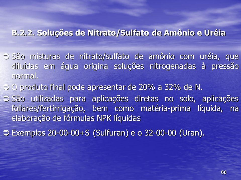 66 B.2.2. Soluções de Nitrato/Sulfato de Amônio e Uréia B.2.2. Soluções de Nitrato/Sulfato de Amônio e Uréia São misturas de nitrato/sulfato de amônio