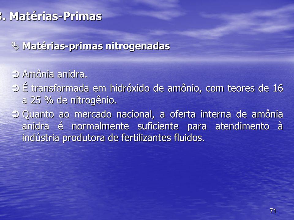 71 3. Matérias-Primas Matérias-primas nitrogenadas Matérias-primas nitrogenadas Amônia anidra. Amônia anidra. É transformada em hidróxido de amônio, c
