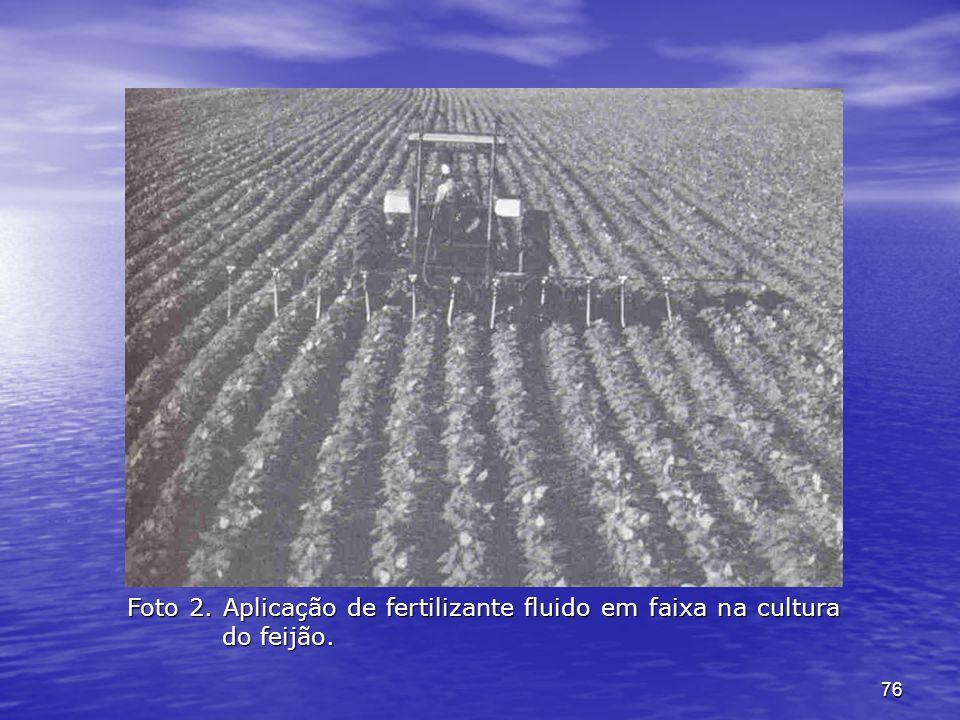 76 Foto 2. Aplicação de fertilizante fluido em faixa na cultura do feijão.
