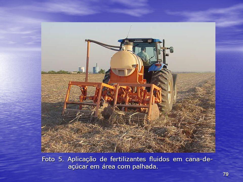 79 Foto 5. Aplicação de fertilizantes fluidos em cana-de- açúcar em área com palhada.