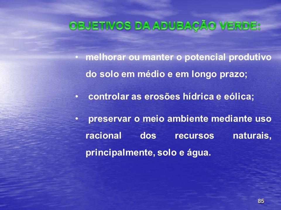 85 melhorar ou manter o potencial produtivo do solo em médio e em longo prazo; controlar as erosões hídrica e eólica; preservar o meio ambiente median