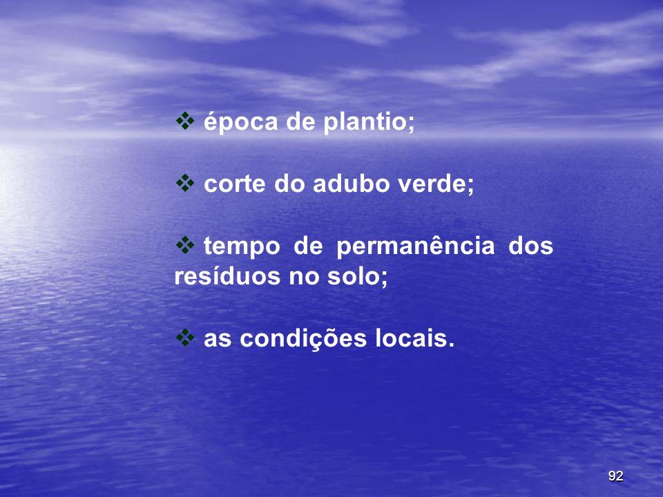92 época de plantio; corte do adubo verde; tempo de permanência dos resíduos no solo; as condições locais.