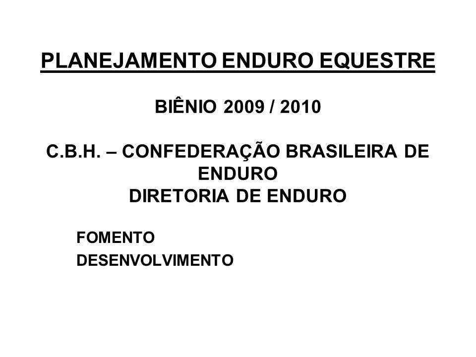 PLANEJAMENTO ENDURO EQUESTRE BIÊNIO 2009 / 2010 C.B.H.