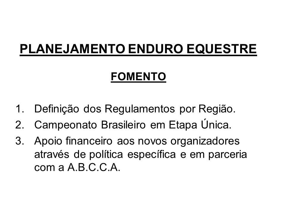 PLANEJAMENTO ENDURO EQUESTRE FOMENTO 1.Definição dos Regulamentos por Região.