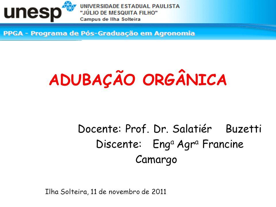 ADUBAÇÃO ORGÂNICA Docente: Prof. Dr. Salatiér Buzetti Discente: Eng a Agr a Francine Camargo Ilha Solteira, 11 de novembro de 2011