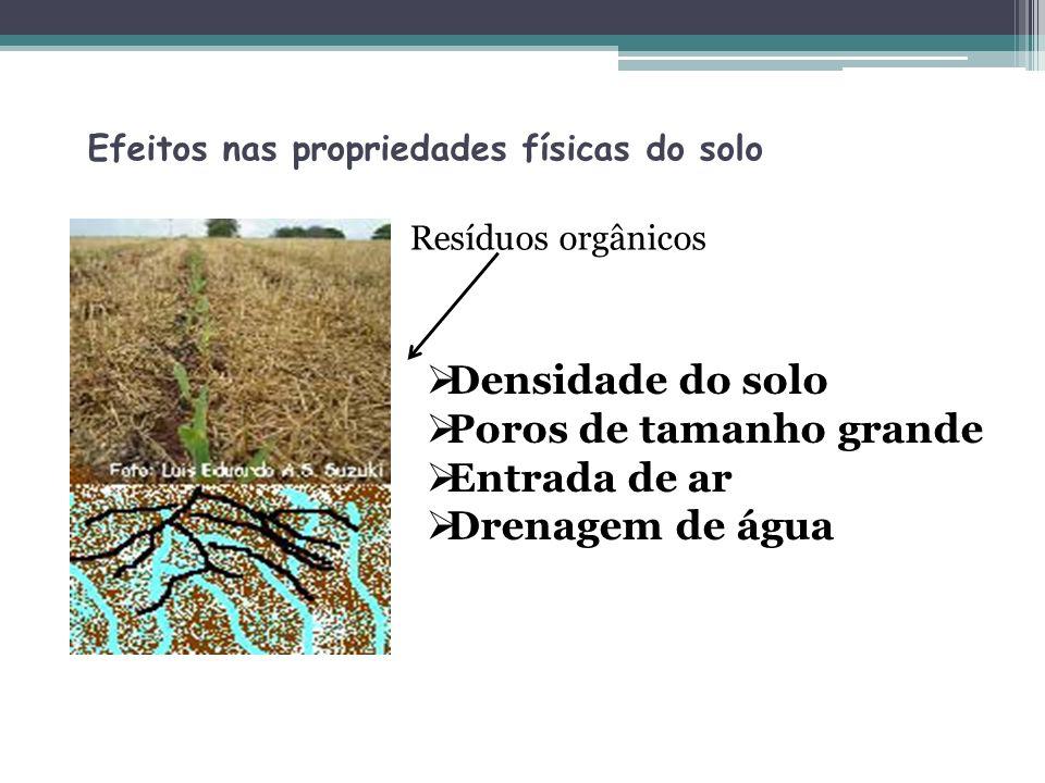 Efeitos nas propriedades físicas do solo Densidade do solo Poros de tamanho grande Entrada de ar Drenagem de água Resíduos orgânicos