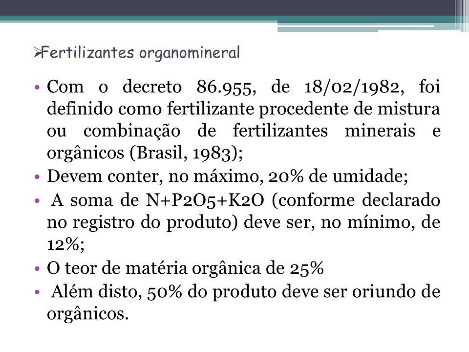 Fertilizantes organomineral Com o decreto 86.955, de 18/02/1982, foi definido como fertilizante procedente de mistura ou combinação de fertilizantes m