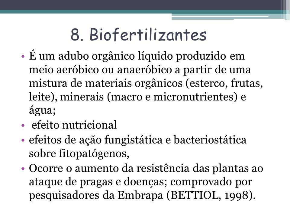 8. Biofertilizantes É um adubo orgânico líquido produzido em meio aeróbico ou anaeróbico a partir de uma mistura de materiais orgânicos (esterco, frut