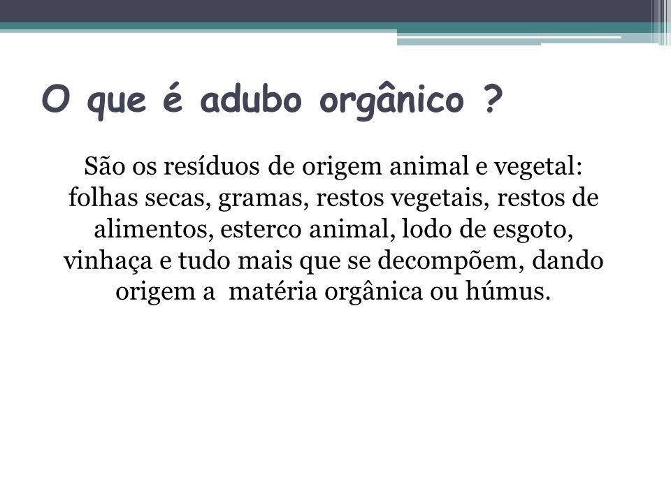 O que é adubo orgânico ? São os resíduos de origem animal e vegetal: folhas secas, gramas, restos vegetais, restos de alimentos, esterco animal, lodo