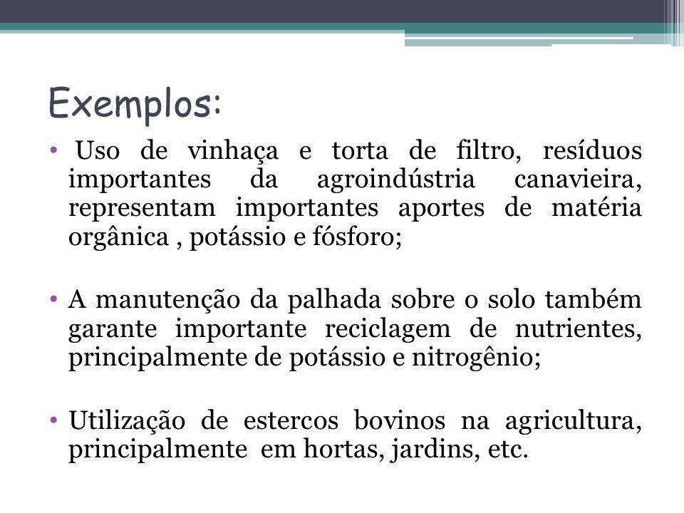 Exemplos: Uso de vinhaça e torta de filtro, resíduos importantes da agroindústria canavieira, representam importantes aportes de matéria orgânica, pot