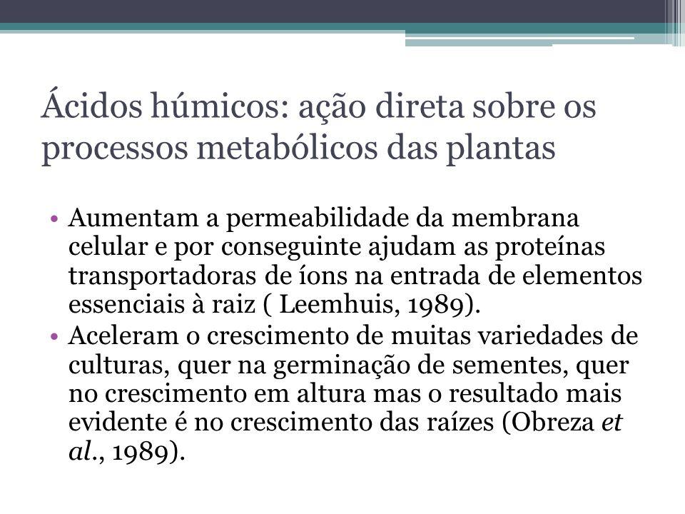 Ácidos húmicos: ação direta sobre os processos metabólicos das plantas Aumentam a permeabilidade da membrana celular e por conseguinte ajudam as prote
