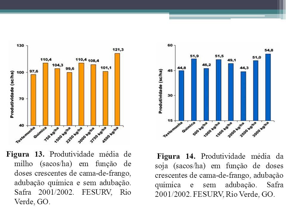 Figura 13. Produtividade média de milho (sacos/ha) em função de doses crescentes de cama-de-frango, adubação química e sem adubação. Safra 2001/2002.