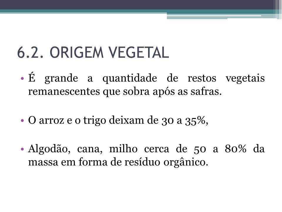 6.2. ORIGEM VEGETAL É grande a quantidade de restos vegetais remanescentes que sobra após as safras. O arroz e o trigo deixam de 30 a 35%, Algodão, ca