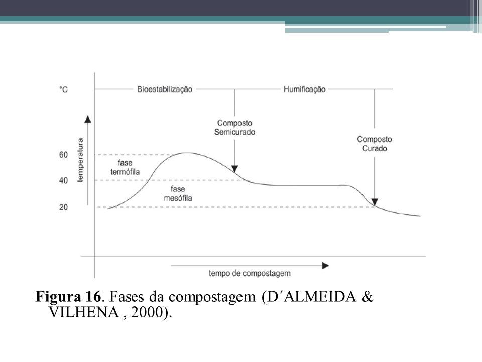 Figura 16. Fases da compostagem (D´ALMEIDA & VILHENA, 2000).