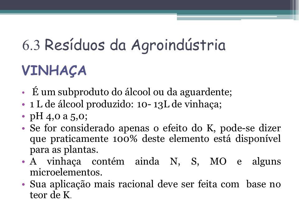 6.3 Resíduos da Agroindústria VINHAÇA É um subproduto do álcool ou da aguardente; 1 L de álcool produzido: 10- 13L de vinhaça; pH 4,0 a 5,0; Se for co