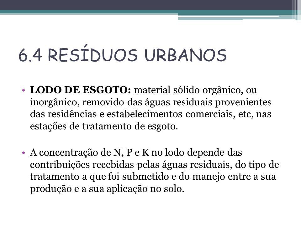 6.4 RESÍDUOS URBANOS LODO DE ESGOTO: material sólido orgânico, ou inorgânico, removido das águas residuais provenientes das residências e estabelecime