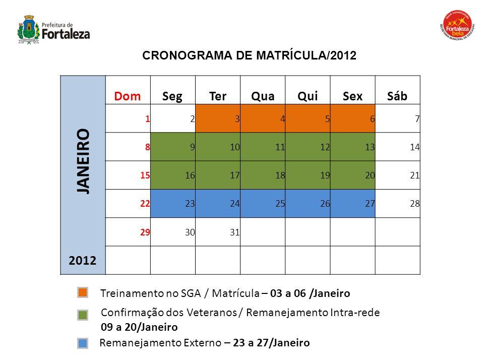 CRONOGRAMA DE MATRÍCULA/2012 Treinamento no SGA / Matrícula – 03 a 06 /Janeiro Confirmação dos Veteranos / Remanejamento Intra-rede 09 a 20/Janeiro JA