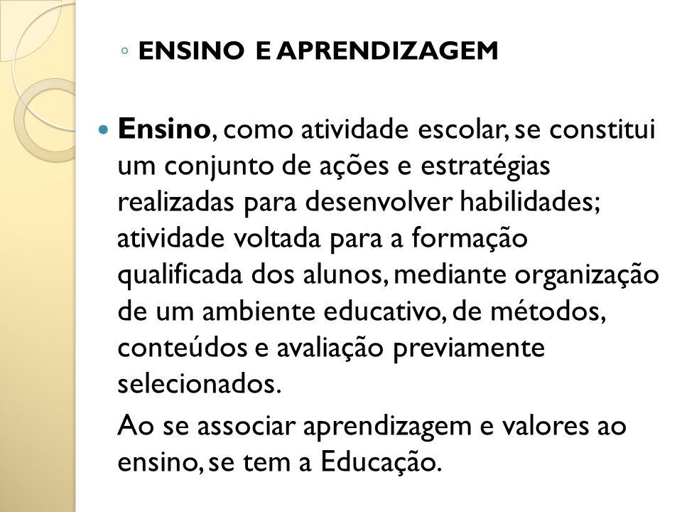ENSINO E APRENDIZAGEM Ensino, como atividade escolar, se constitui um conjunto de ações e estratégias realizadas para desenvolver habilidades; ativida