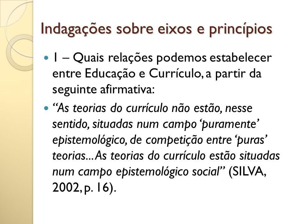 Indagações sobre eixos e princípios 1 – Quais relações podemos estabelecer entre Educação e Currículo, a partir da seguinte afirmativa: As teorias do