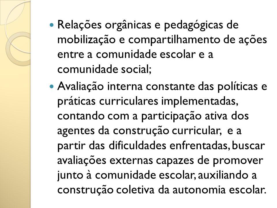 Relações orgânicas e pedagógicas de mobilização e compartilhamento de ações entre a comunidade escolar e a comunidade social; Avaliação interna consta