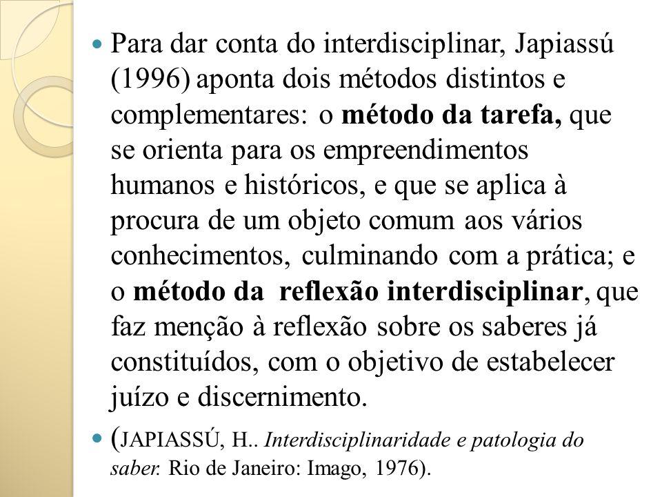 Para dar conta do interdisciplinar, Japiassú (1996) aponta dois métodos distintos e complementares: o método da tarefa, que se orienta para os empreen