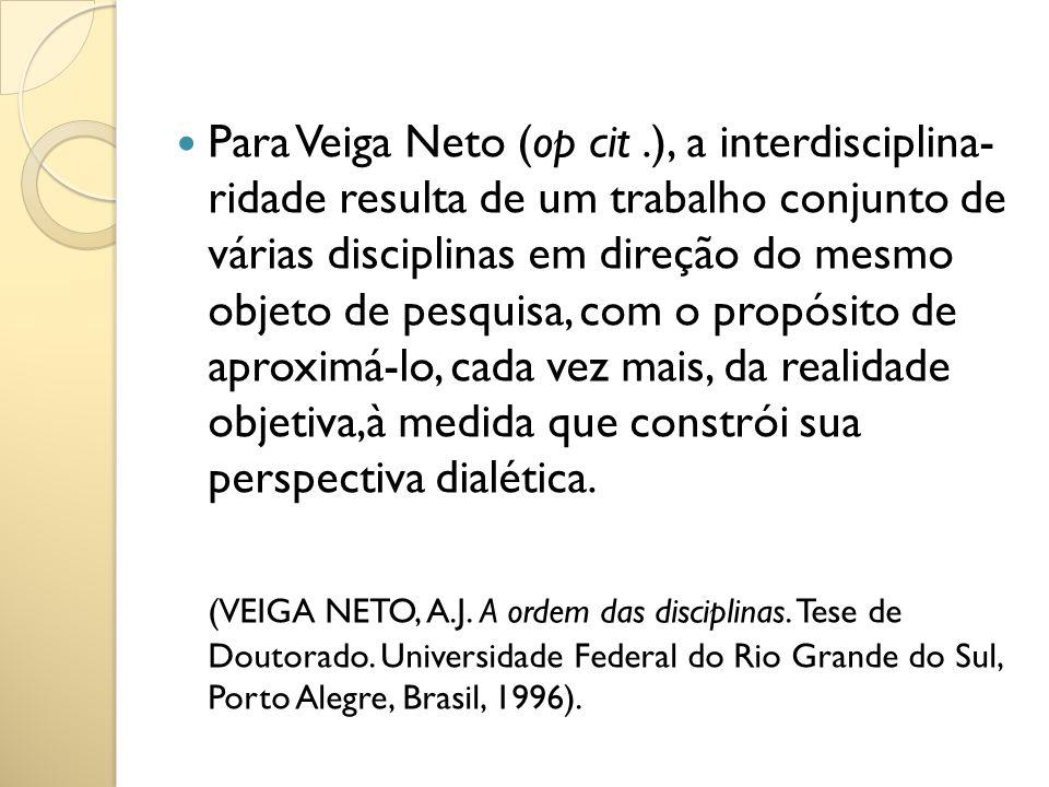 Para Veiga Neto (op cit.), a interdisciplina- ridade resulta de um trabalho conjunto de várias disciplinas em direção do mesmo objeto de pesquisa, com
