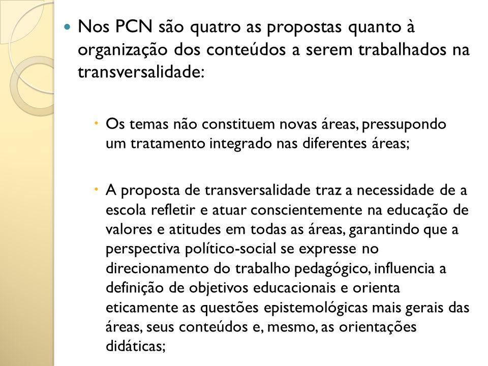 Nos PCN são quatro as propostas quanto à organização dos conteúdos a serem trabalhados na transversalidade: Os temas não constituem novas áreas, press