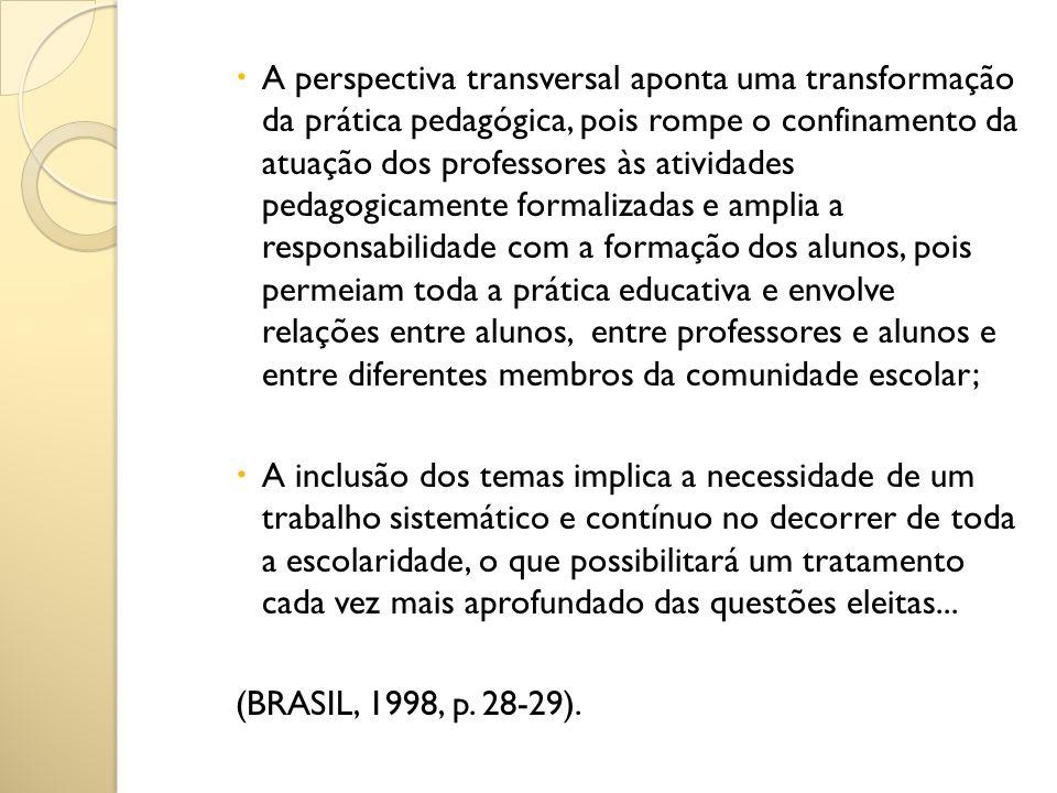 A perspectiva transversal aponta uma transformação da prática pedagógica, pois rompe o confinamento da atuação dos professores às atividades pedagogic