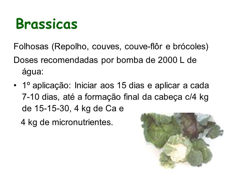 Folhosas (Repolho, couves, couve-flôr e brócoles) Doses recomendadas por bomba de 2000 L de água: 1º aplicação: Iniciar aos 15 dias e aplicar a cada 7