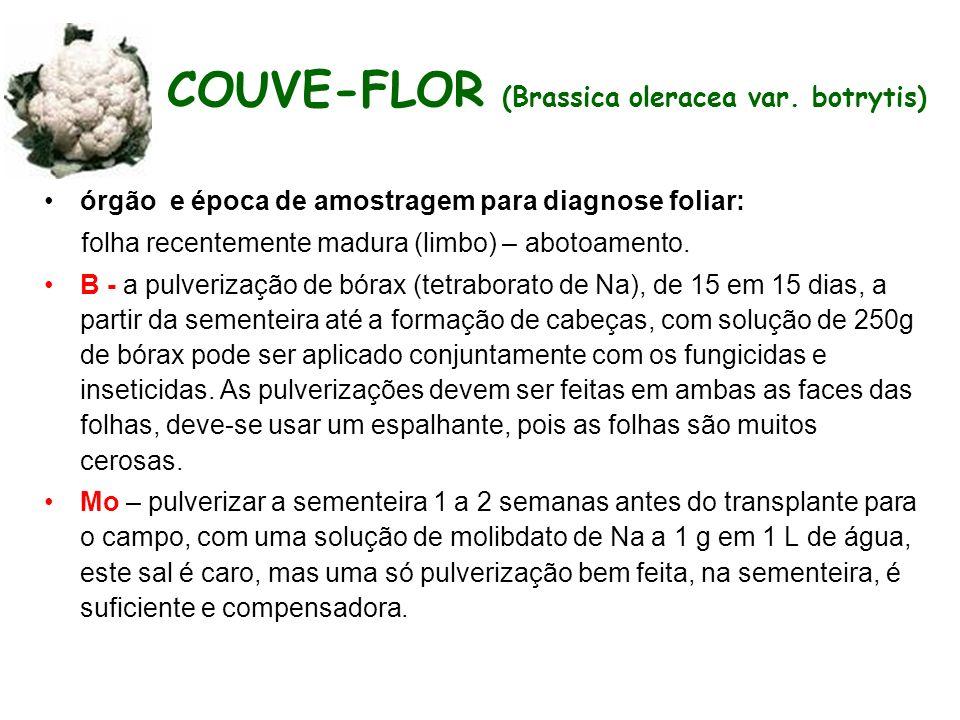 COUVE-FLOR (Brassica oleracea var. botrytis) órgão e época de amostragem para diagnose foliar: folha recentemente madura (limbo) – abotoamento. B - a