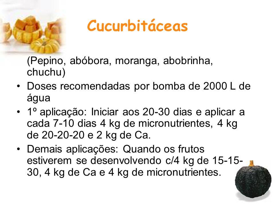 Cucurbitáceas (Pepino, abóbora, moranga, abobrinha, chuchu) Doses recomendadas por bomba de 2000 L de água 1º aplicação: Iniciar aos 20-30 dias e aplicar a cada 7-10 dias 4 kg de micronutrientes, 4 kg de 20-20-20 e 2 kg de Ca.
