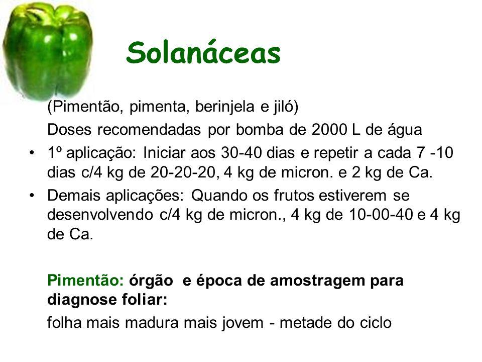 Solanáceas (Pimentão, pimenta, berinjela e jiló) Doses recomendadas por bomba de 2000 L de água 1º aplicação: Iniciar aos 30-40 dias e repetir a cada 7 -10 dias c/4 kg de 20-20-20, 4 kg de micron.