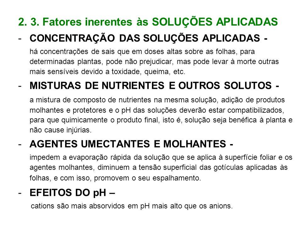 2. 3. Fatores inerentes às SOLUÇÕES APLICADAS -CONCENTRAÇÃO DAS SOLUÇÕES APLICADAS - há concentrações de sais que em doses altas sobre as folhas, para